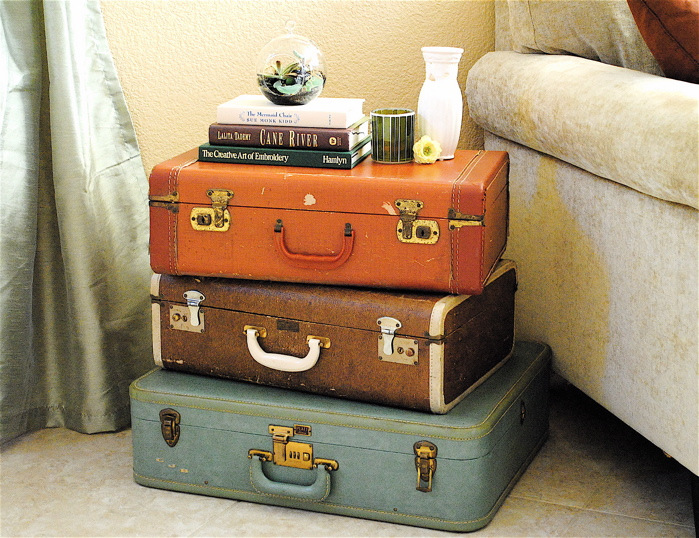 Some of my classic retro luggage charity chic - Vintage suitcase ...