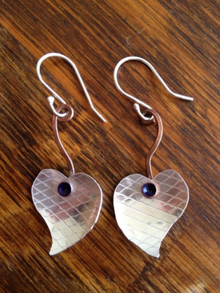 Sterling silver, copper and resin earrings