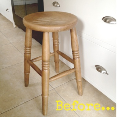 Unpainted wooden stool
