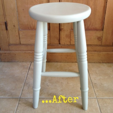 Stool painted in Farrow & Ball Mizzle